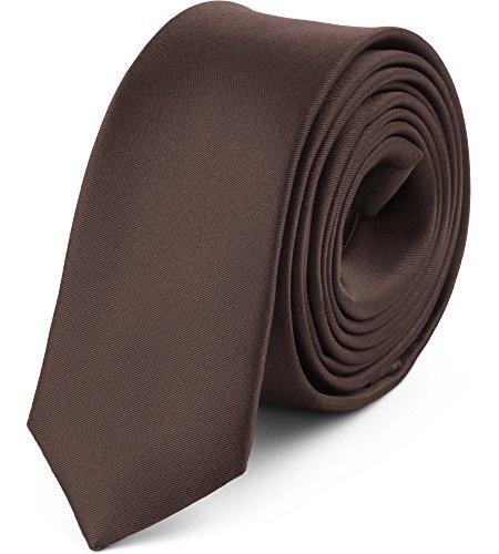 Ladeheid Herren Schmale Krawatte SP-5 (150cm x 5cm, Dunkle Schokolade)