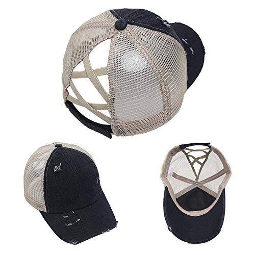 Gorra de béisbol con Cola de Caballo Cruzada Rasgada Gorra de protección Solar de protección Solar al Aire Libre Americana para Mujeres