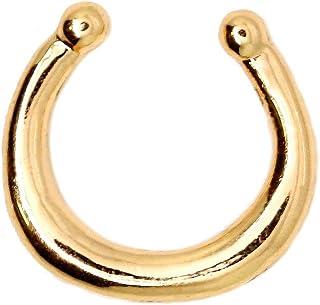Finto Fake Body Piercing segmento Septum Ferro di Cavallo Naso Labbro Corpo Tragus Helix Colore rosé Nero Oro Argento
