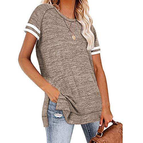 URIBAKY - Camiseta de manga corta para mujer con cuello redondo, estilo informal, color liso marrón L