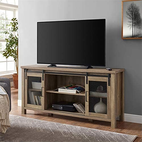 """Pemberly Row 58"""" Farmhouse Sliding Barn Door Wood TV Stand Console Buffet Sideboard Credenza Storage Cabinet in Rustic Oak Barnwood"""