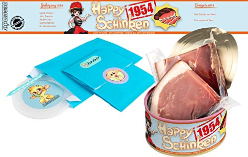 Happy Schinken | 200 Gramm Schwarzwälder Schinken in der Dose | Personalisiert mit Wunsch- Geburtsjahr und Namen | Geburtstagsgeschenk | Geschenk | Geschenkidee (1954)