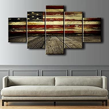 Wooden Flag Wall Pictures for Living Room Canvas Print Retro Vintage American Flag Modern Painting 5pcs Framed Posters and Prints Bedroom Giclee Print Gallery Wrap Artwork Stretched(60''W x 32''H)