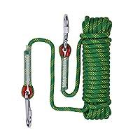 多目的スタティックロッククライミングロープ高強度ナイロンロープ50m(164フィート)屋外キャンプパラシュートハイキング救助探査 Green-10mm