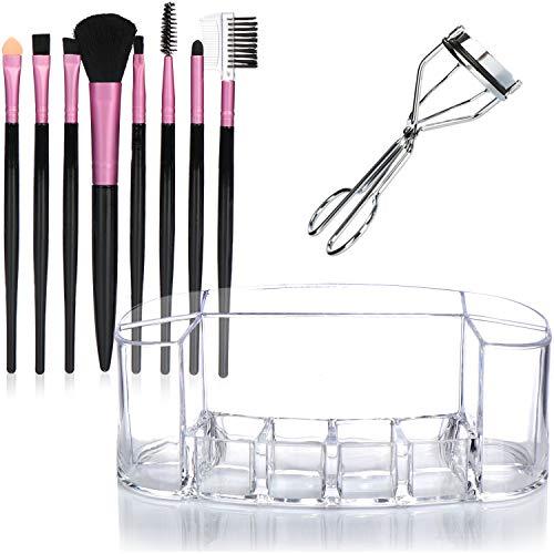 COM-FOUR® 10-delige make-upset - professionele cosmetische borstel, cosmetische organizer en wimperclip [kleur varieert!] (10 stuks - organizer/borstel/wimpers)