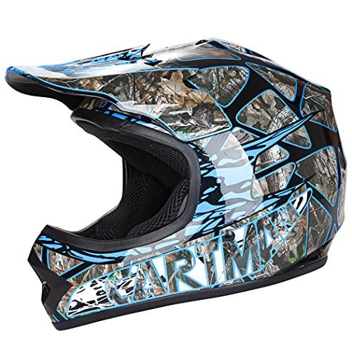 Cartman Youth Motocross Helmet, Offroad Street Dirt Motorcycle Full Face Helmet Blue, Large
