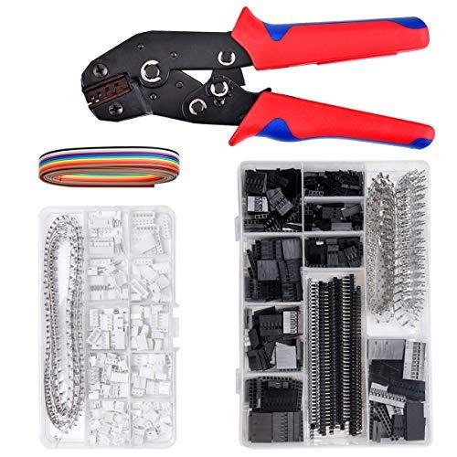 Wuudi Herramienta de crimpado de trinquete, 1550 unidades, conector de 2,54 mm y crimpadora, juego de herramientas de crimpado modular para terminales aislados