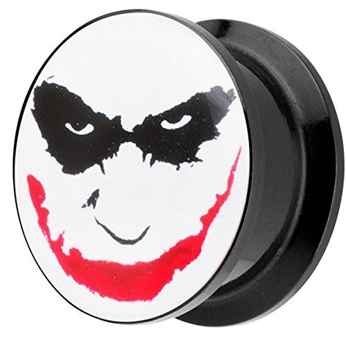 Piersando Ohr Plug Piercing Kunststoff Motiv Comic Picture Flesh Tunnel Ohrplug mit Joker Face Schwarz Weiß Rot 10mm