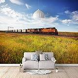 Papel Pintado 3D Murales Cielo azul, sol, hierba- Fotomurales Para Salón Natural Landscape Foto Mural Pared, Dormitorio Corredor Oficina Moderno Festival Mural 450x300 cm - 9 tiras