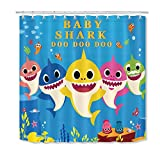 LB Cute Cartoon Fish Shower Curtain Blue Underwater Sea World Starfish Coral Reefs Kids Bathroom Curtain Decor Hooks Included,Polyester Fabric Waterproof,72x72 inch