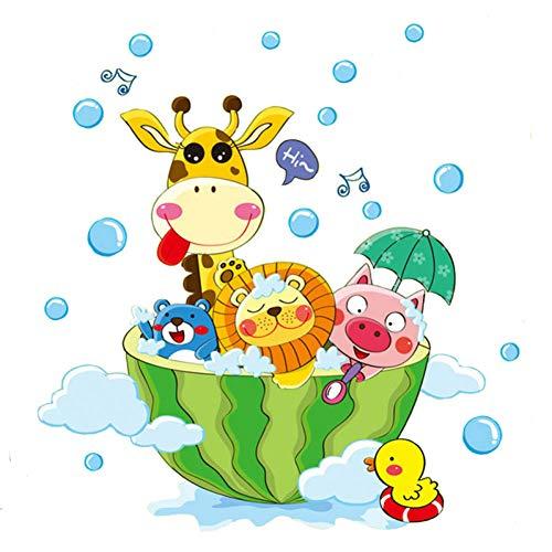 TAOYUE Leuke Dieren in De Bad Douche Muurstickers Badkamer Bubbles Stickers voor Kinderen Kamer Baby Kamer Thuis Decoratie Art Decals Decor