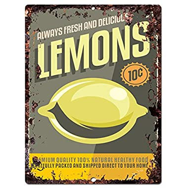 Lemons Sign Rustic Vintage Retro Kitchen Restaurant Store Bar Pub Coffee Shop Wall Decor 9 x12  Metal Plate Sign Home Store Decor Plaques
