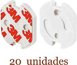 JZK 20 x Blanco protector enchufes seguridad enchufes bebes con mecanismo de giro para beb/és y ni/ños seguridad Infantil protector de enchufe