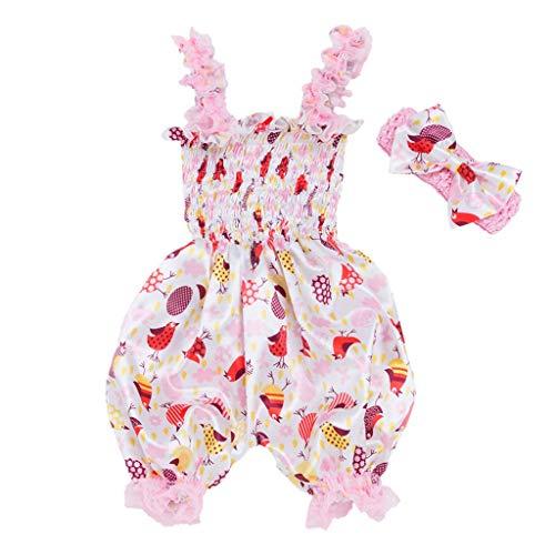 Cinnamou Ropa de Babes Traje de Dos Piezas Mono + Diadema, Patrón de Pascua Huevo Dibujos Animados y La Flor Imprimiendo Linterna Conjunto Bebes Recien Nacidos