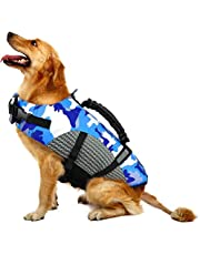 FR&RF Chaleco salvavidas para perros con chaleco de seguridad ajustable para traje de baño reflectante con mango de rescate para nadar y navegar en barco pequeño, mediano, grande, azul, XXL