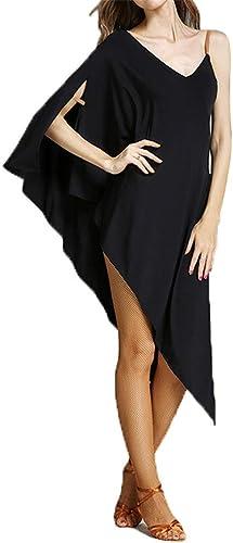 Robe de soirée dansante brillante pour femme, Femmes chauve-souris hommeches sling costume de danse latine costume asymétrique haute fente fête salle de bal Dancewear formation perforhommece compétition d