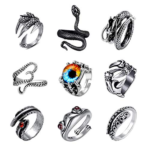 MOROTOLE 9Pcs Vintage Punk Rings Set for Men Women Gothic Open Ring Set Adjustable Retro Dragon Snake Rings Set Jewelry