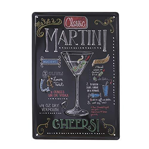 VOSAREA Targhe Vintage Metallo Targa Targhette per Bar Coffee casa (Martini)
