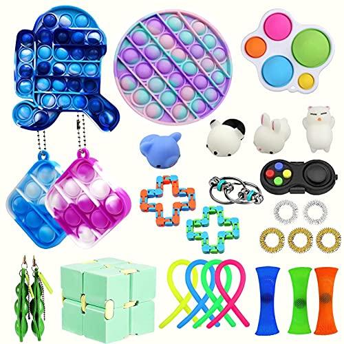 30pcs Sensory Fidget Pack, alivio del estrés Fidget Toys Pack, el autismo necesita alivio del estrés Alivio de ansiedad Los juguetes de alivio, para el alivio de la ansiedad, el autismo ( Color : D )