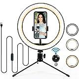 Flashs et éclairage à Selfie,ROTEK 10'/ 26cm LED Anneau Lumineux avec trépied Selfie Desk Makeup Light,pour Youtuber, Streaming en Direct, TikTok, Photo, Prise de Vue vidéo, Beauty Light