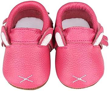 Vorgelen Zapatos de Cuero para Bebé Zapatillas de Piel para niños y niñas Primeros Pasos Zapatos Pantuflas Infantiles Patucos de Suela Suave - Rosa Conejo 12-18 Meses