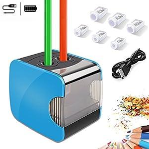 Sacapuntas de lápiz eléctrico, Oladwolf Sacapuntas automático pencil sharpener con dos agujeros, Batería de sacapuntas…