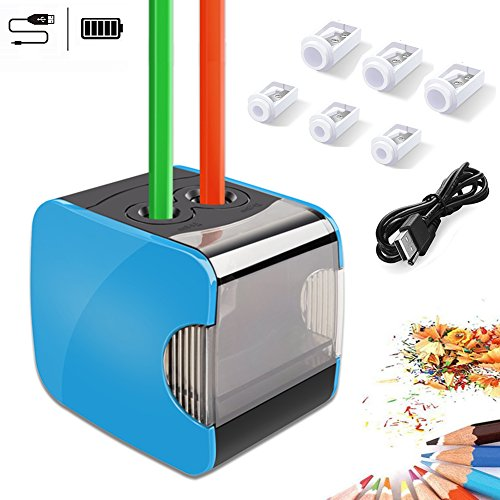 Oladwolf Electric Pencil Sharpeners, Dual Holes Automatic Pencil Sharpener,Battery and USB Operated with 6 Replacement SK5 Blades,Anti-Slip, Auto Stop For Safety,Blue (Blue-2)