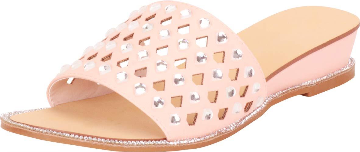 Cambridge Select 女式单带激光镂空水晶水钻低坡跟拖鞋
