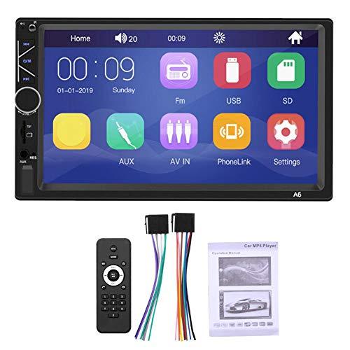 Qiilu 12 V mediaspelare 2 DIN 7 tum full-HD stöd för USB-enhet/minneskort/Bluetooth för Android/IOS