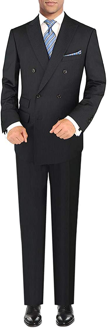 DTI GV Executive Italian Men's Two Piece Wool Suit Double Breasted Jacket Stripe