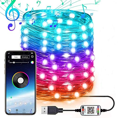 Guirnalda de luces con USB, control por aplicación, 20 m, con 200 luces LED, ritmo musical, iluminación para Navidad, bodas, fiestas, decoración, adornos.