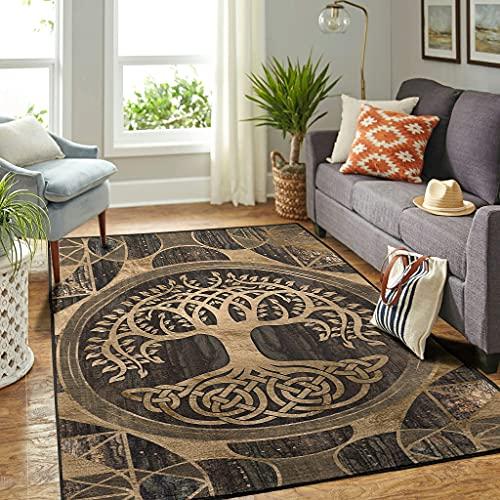 Veryday Tapis moderne avec motif arbre de vie viking - Pour chambre à coucher - Blanc - 122 x 183 cm