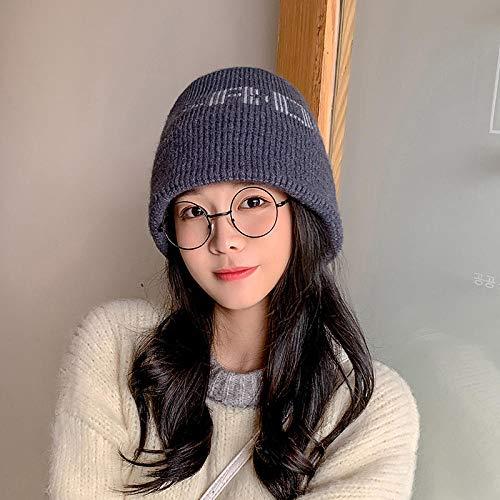 Roshow Fischerhuthut weiblich Herbst und Winter koreanische Version Wilde Flut japanische Buchstaben warm im Freien süß und niedlich Eimer Wollhut-Eine Größe (56-58 cm)_707# -pink