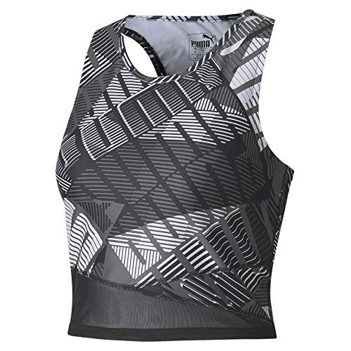 PUMA Damen Crop Top Be Bold AOP, Black/White/Q1 PRT, L, 518928