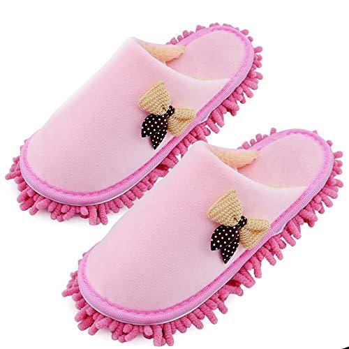 Pantoufles en microfibre vadrouille de nettoyage de sol hommes et femmes pantoufles de dépoussiérage de maison pantoufles de nettoyage de poussière de sol (Rose, EU 38-41, 38)