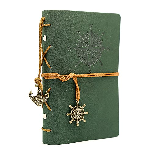 Leather Writing Journal Notebook, EvZ 7 Inches Vintage Nautical Spiral Blank String Diary Notepad Sketchbook Travel to Write in, Unlined Paper, Retro Pendants, Classic Embossed, Dark Green