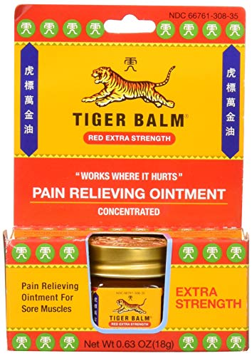 Tiger Balm Pain Relieving Red Extra Strength, 18g – Relief for Sore Muscles – Extra Strength Sports Rub – Tiger Balm Extra Strength – Tiger Balm Ointment