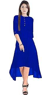Ocean Fashion Women's Style Rayon Blue Full-Stitched A-Line Kurti