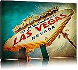Las Vegas Retro Look Format: 100x70 auf Leinwand, XXL