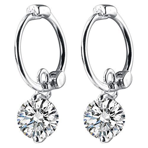 LNSTORE Glamorosa y de Moda 100% de Cristal de Plata esterlina Real 925 Que deslumbra los Pendientes del aro de la Mujer de joyería De Moda y Duradero