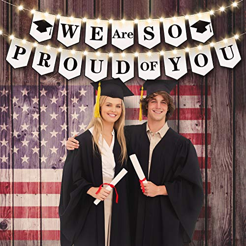2021 We are So Proud of You Banner with 8 Modes LED String Light, White LightingHanging Graduation Garland Bunting Flags Sign or Grad Party Decor Photo Props Mantel Fireplace Wall