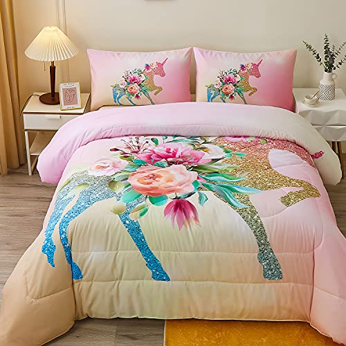 Namoxpa Floral Unicorn Bedding Comforter Sets Girls Unicorn Pink Roses Comforter 3 Pieces Green Fantasy Glittery Horse Comforter Sets for Teens and Girls,Queen Size