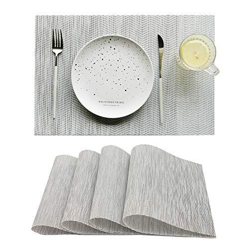 RECYCO ランチョンマット 撥水 断熱 洗える おしゃれ 北欧 4枚セット 子供 家庭 レストラン用 大人対応 お手入れ簡単 PVC製テーブルマット グラデーション グレー
