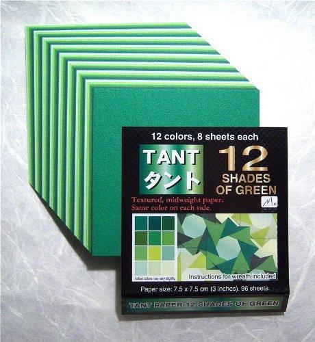 Toyo Origami, Zelt grün, 15 cm x 15 cm, 12 Farben, 4 Stück
