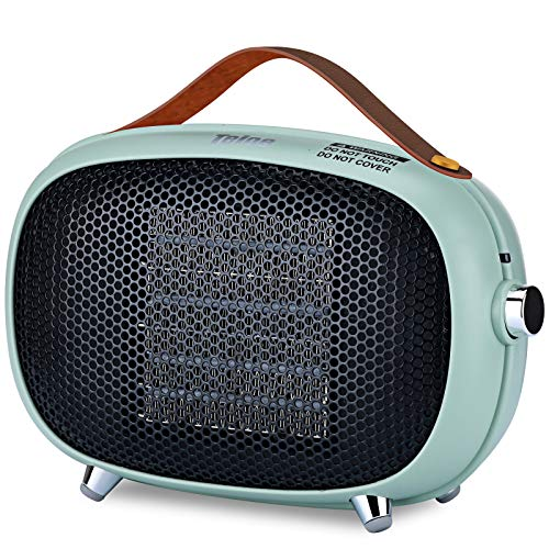 Space Heater, Teioe Small Space Heater for Bedroom, Mini Electric Space Heater with Tip-Over & Overheat Protection, Portable PTC Ceramic Space Heater for Office, Desk, Indoor Use(GREEN)