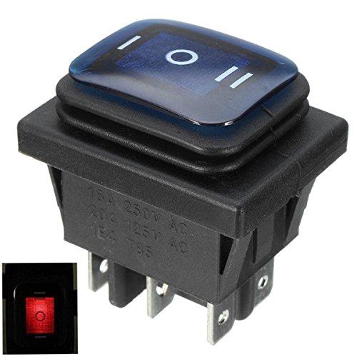 EsportsMJJ Interruptor De Eje De Balancín 16A 250V 3 Posición 6 Pin Interruptor De Eje De Balancín Impermeable con La Luz De La Lámpara - Azul