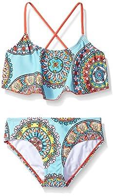 Kanu Surf Girls' Big Alania Flounce Bikini Beach Sport 2 Piece Swimsuit, Jasmine Multi, 10