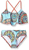 Kanu Surf Girls' Big Alania Flounce Bikini Beach Sport 2 Piece Swimsuit, Jasmine Multi, 12