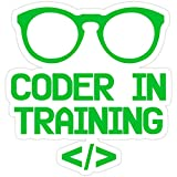 Stickers Coder in Training for Future Programmers Vinyl Decals Bag (3 Pcs/Pack) Backpack 3x4 Inch