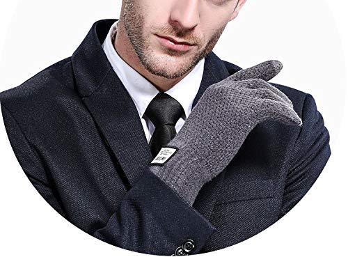 Strickhandschuhe für den Winter, Schwarz/Grau, Touched Screen Handschuhe für Herren und Damen, Winterhandschuhe für Handgelenke, Damen, G119 Male Gray, Einheitsgröße